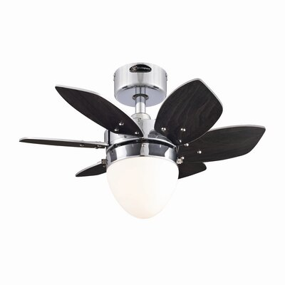 Low Price 24 inches Origami 6 Blade Ceiling Fan with Remote Finish: Chrome with Wengue/Beech Blades
