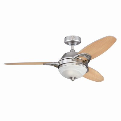 46 Redding 3-Blade Ceiling Fan with Remote Finish: Brushed Nickel with Beach/Maple Blades