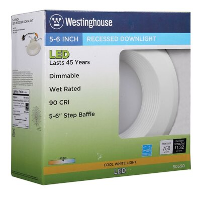 65W Equivalent 5-6 Dimmable LED Downlight Recessed Housing Color Temperature: 4000K