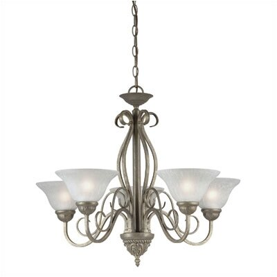 Raphael Collection Five Light Chandelier in Ebony Bronze