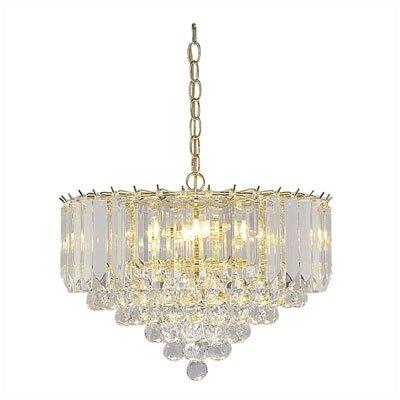 Six Light Chandelier in Polished Brass