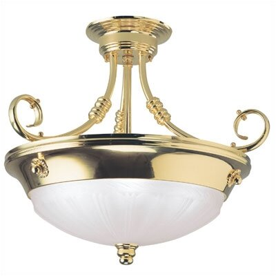 Provincial  Semi Flush Mount in High Luster Polished Brass