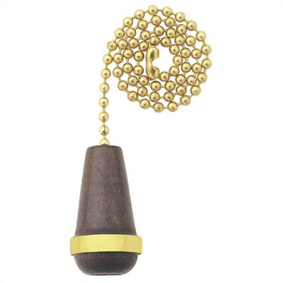 Walnut Cone with Gold Trim Ceiling Fan Pull Chain (Set of 19)