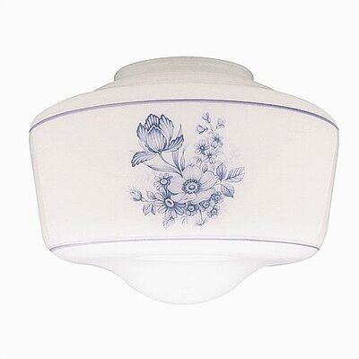 4 Ceilng Fan Fitter Schoolhouse Shade with Blue Floral Design (Set of 5)