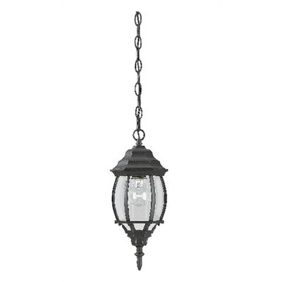 Outdoor Hanging Lantern in Textured Black With Frosted Glass (Set of 2)