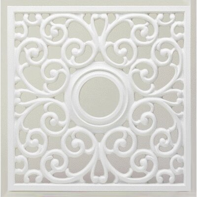 18 Square Parisian Scroll Ceiling Fan Medallion in White (Set of 2)