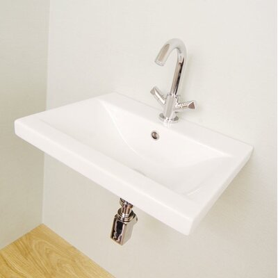 Clever Ceramic 32 Wall Mount Bathroom Sink with Overflow