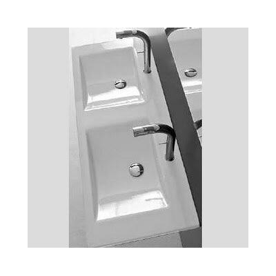 Kloc Ceramic 49 Trough Bathroom Sink with Overflow