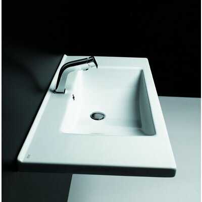 Kloc Ceramic 37 Wall Mount Bathroom Sink with Overflow