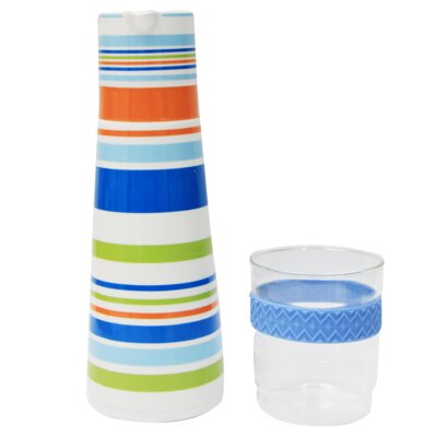 Pocelain 3 Cup Water Carafe and Glass Tumbler Set P0292