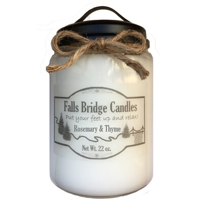 """Rosemary & Thyme Scented Jar Candle Size: 6.5"""" H x 4"""" W x 4"""" D"""