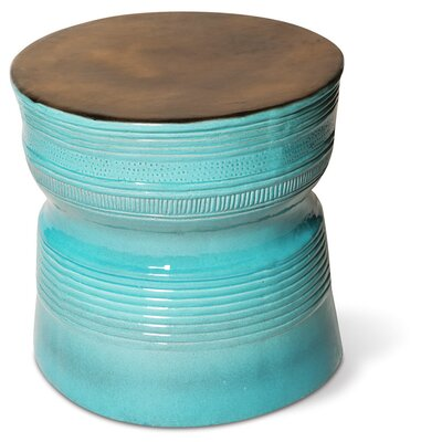 Ancaris Ring Side Table Finish: Metallic / Turquoise Blue