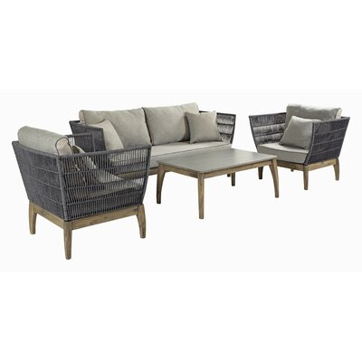 Wings Indoor/Outdoor 4 Piece Deep Seating Group with Cushion