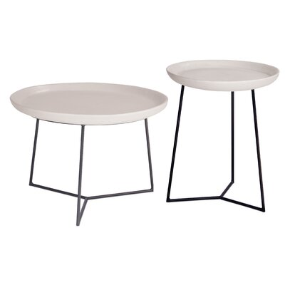 Perpetual 2 Piece Link Side Table Set Top Finish: Linen White