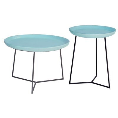 Perpetual 2 Piece Link Side Table Set Top Finish: Duck Egg Blue