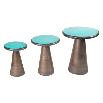 Segment 3 Piece Nesting Tables Top Color: Turquiose Blue