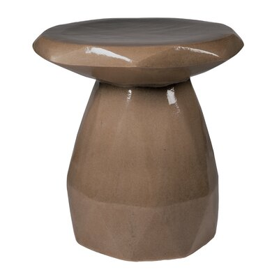 Geo Ceramic Pedestal End Table Color: Taupe