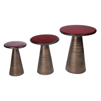 Segment 3 Piece Nesting Tables Top Color: Antique Red