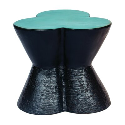 Leaf Clover End Table Top Color: Gloss Turquoise Blue