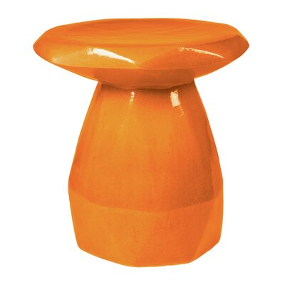Geo Ceramic Pedestal End Table Color: Orange