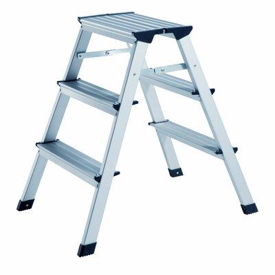 3-stufige Trittleiter aus Aluminium | Baumarkt > Leitern und Treppen > Trittleiter | Silver | Aluminium - Abs | Alco Albert