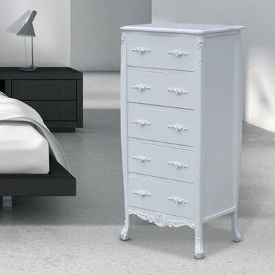 Ponticus 5 Drawer Chest Color: Creme