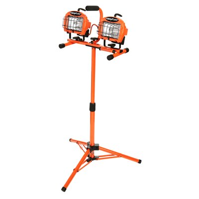 Halogen Twin Head Telescoping Tripod Work 2-Light Flood/Security Light