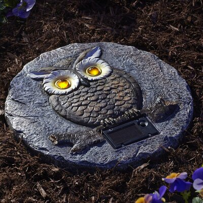 Solar Powered Owl Garden Stepping Stone 91664