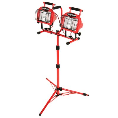 Designers Edge Twin Head Adjustable with Telescoping Tripod Stand Flood/Security Lights