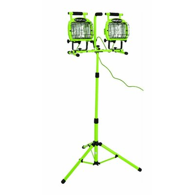 Industrial Twin Head Adjustable with Telescoping Tripod Stand Halogen Flood/Security Light