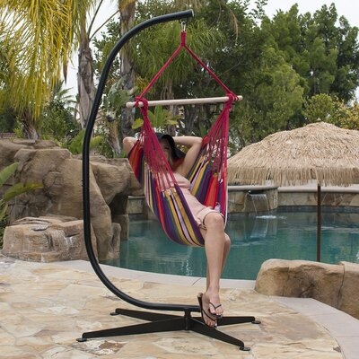 Cotton Chair Hammock with Stand Color: Yellow/Green/Red