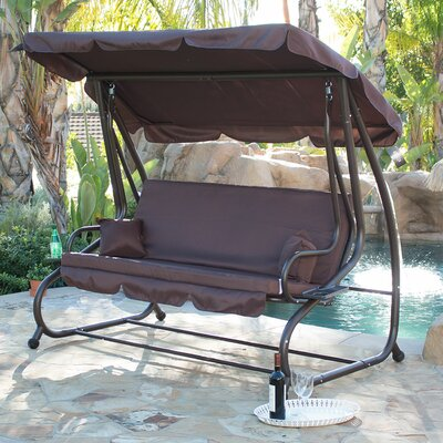 Canopy Porch Swing With Stand Color: Dark Brown