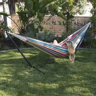 Nina Cotton Hammock with stand Color: Tropical