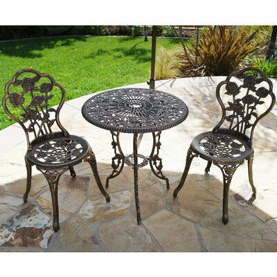 3 Piece Bistro Set Finish: Bronze