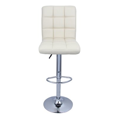 Cassini Adjustable Height Swivel Bar Stool Upholstery: Cream Soda