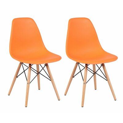 Lillian Solid Wood Dining Chair Finish: Orange