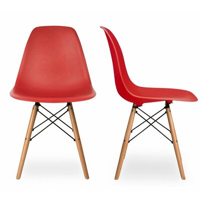 Lillian Solid Wood Dining Chair Finish: Red