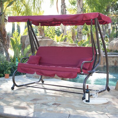 Canopy Porch Swing with Stand Color: Burgundy