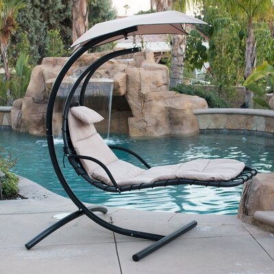 Polyester Hanging Chaise Lounger with Stand Color: Beige