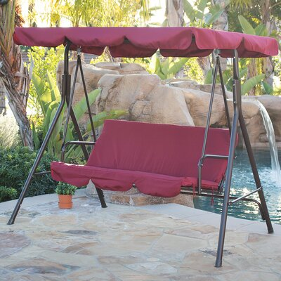 Canopy Porch Swing With Stand Cushion Fabric: Burgundy