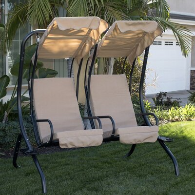 Porch Swing with Stand Cushion Fabric: Tan