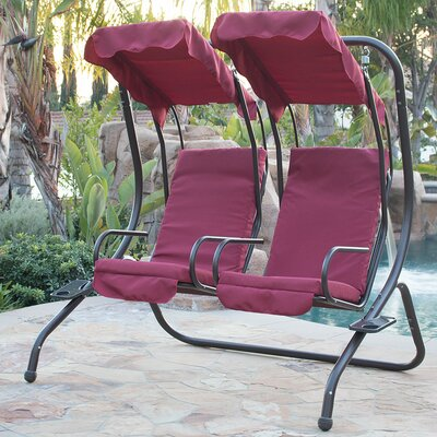 Porch Swing with Stand Cushion Fabric: Burgundy
