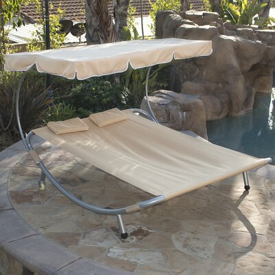 Double Chaise Lounge Color: Tan