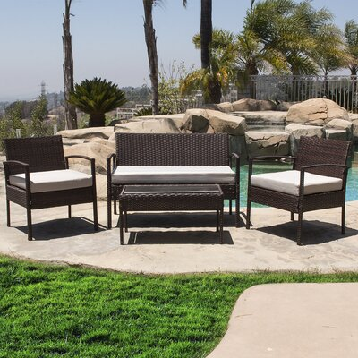 4 Piece Deep Seating Group with Cushion Finish: Black