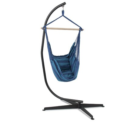 Cotton Chair Hammock with Stand Color: Light Blue/Navy Blue