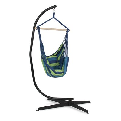 Cotton Chair Hammock with Stand Color: Blue/Green