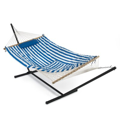 Cotton Hammock with Stand Color: Blue/White Stripe