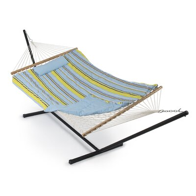 Cotton Hammock with Stand Color: Blue/Green Stripe