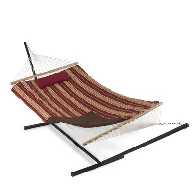 Cotton Hammock with Stand Color: Red/Tan Stripe