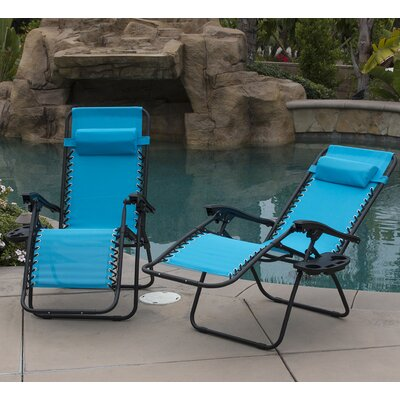 Zero Gravity Chaise Lounge with Cushion Finish: Sky Blue